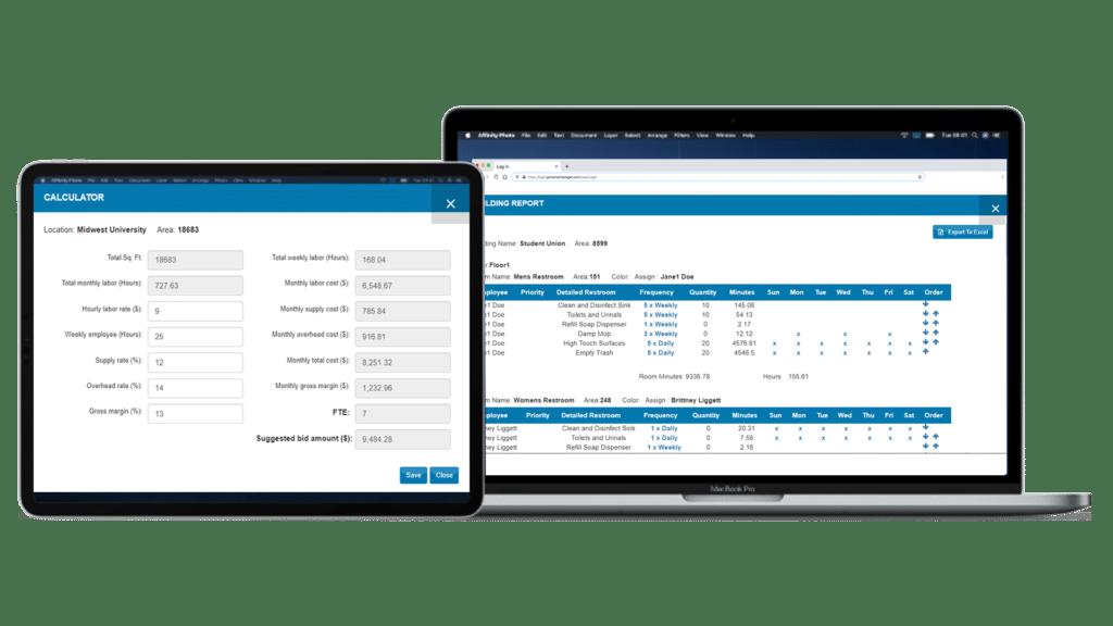 Macbook and ipad with bidding calculator