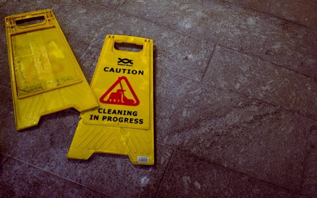 Wet floor sign -- don't slip