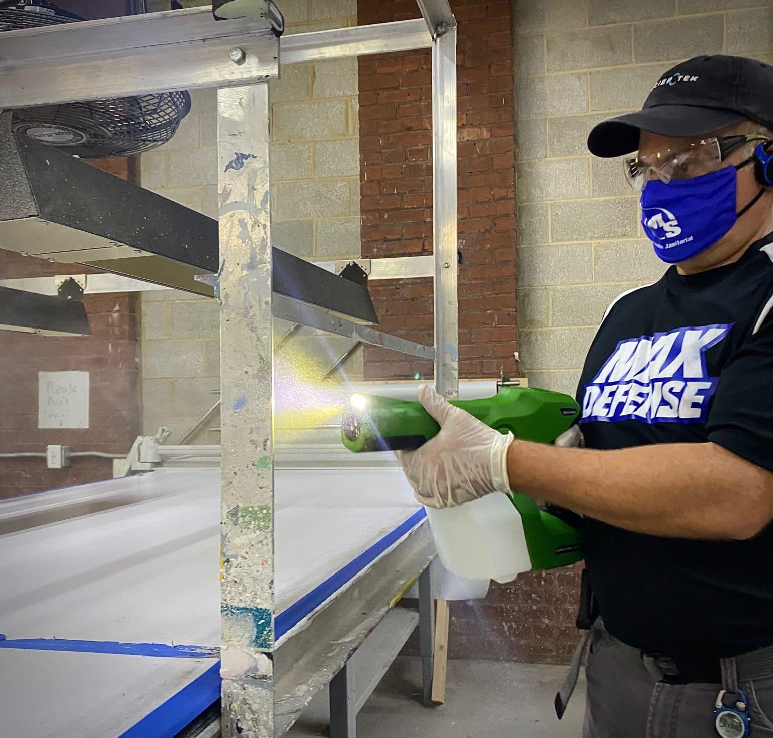 Electrostatic sprayer in action