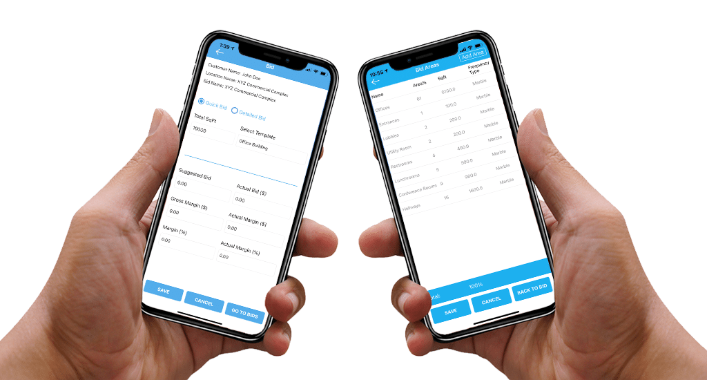 two hands holding iPhones showing UI of mobile bidding
